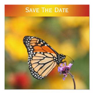 """Mariposa de monarca en busca del polen invitación 5.25"""" x 5.25"""""""