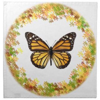 Mariposa de monarca en el marco de hojas servilleta de papel