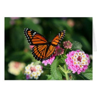 Mariposa de monarca en la flor del Lantana Tarjeta De Felicitación