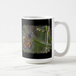 Mariposa de monarca en la frontera del negro de la taza clásica