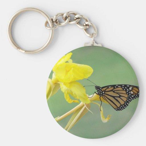 Mariposa de monarca en la parte posterior simple d llavero redondo tipo pin