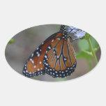 Mariposa de monarca en la serie de la mariposa de pegatina ovalada