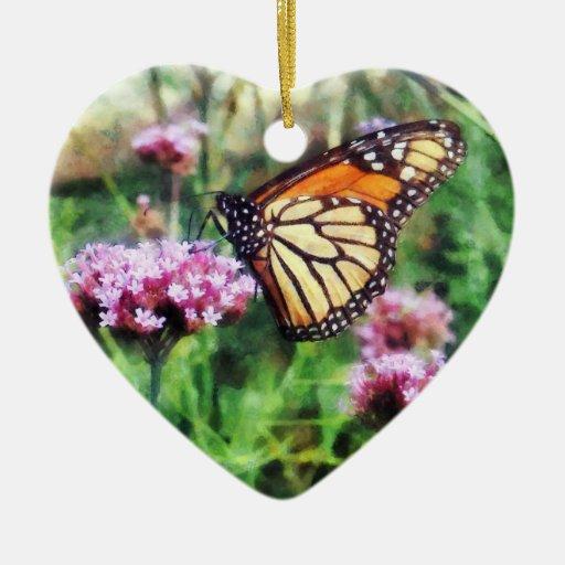 Mariposa de monarca en Lantana rosado Ornamento Para Reyes Magos