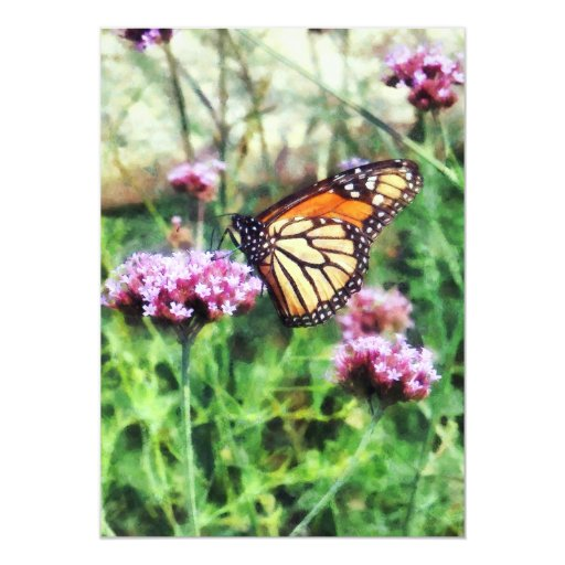 Mariposa de monarca en Lantana rosado Comunicados Personalizados