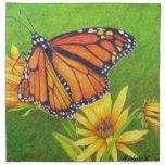 mariposa de monarca en las flores servilletas de papel