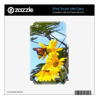 Mariposa de monarca en piel del tacto de iPod de l Calcomanías Para iPod Touch 4G
