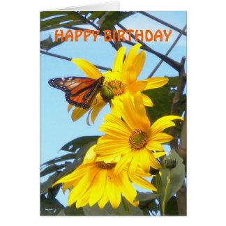 Mariposa de monarca en tarjeta de cumpleaños del g