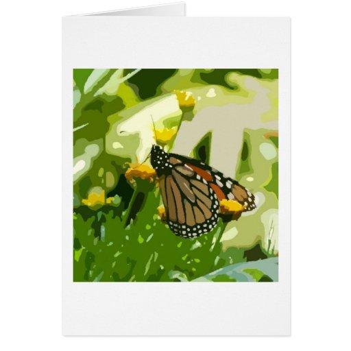 Mariposa de monarca en una planta verde y amarilla tarjetón