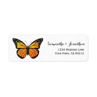 Mariposa de monarca etiqueta de remite