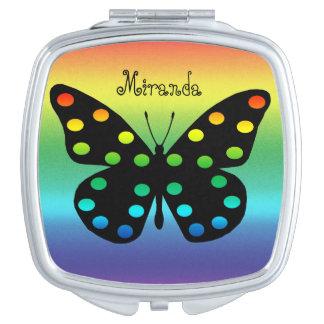 Mariposa de monarca hermosa en extracto espejo de maquillaje