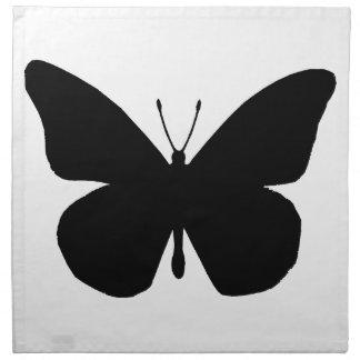 Mariposa de monarca hermosa en silueta servilletas