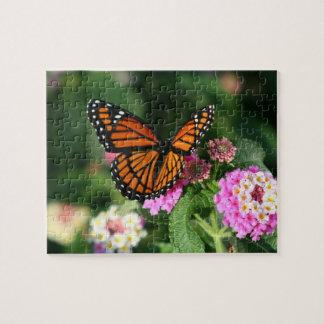 Mariposa de monarca, Lantana Flowers.Puzzle Puzzle