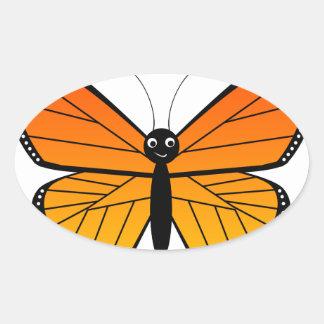 Mariposa de monarca linda calcomanía de óval