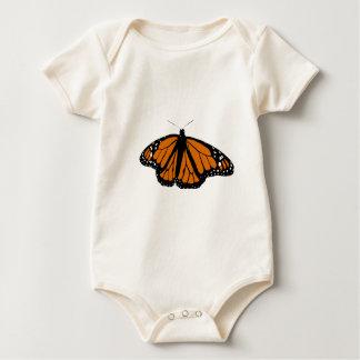 Mariposa de monarca negra y anaranjada mameluco de bebé
