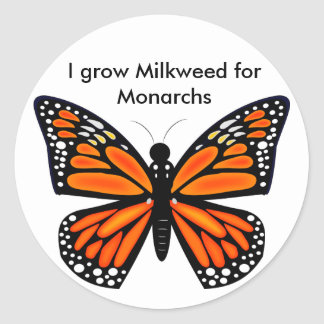 Mariposa de monarca etiqueta redonda