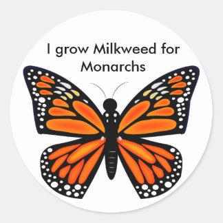 Mariposa de monarca pegatina redonda