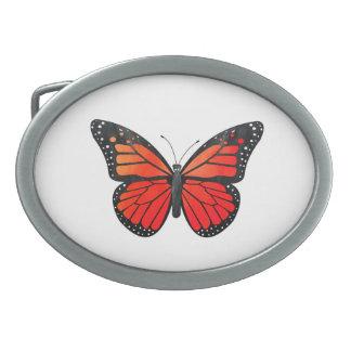 Mariposa de monarca roja hebillas cinturon ovales