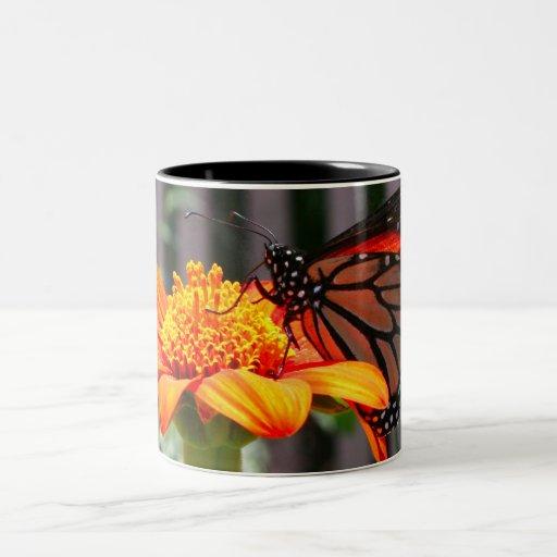 Mariposa de monarca taza dos tonos