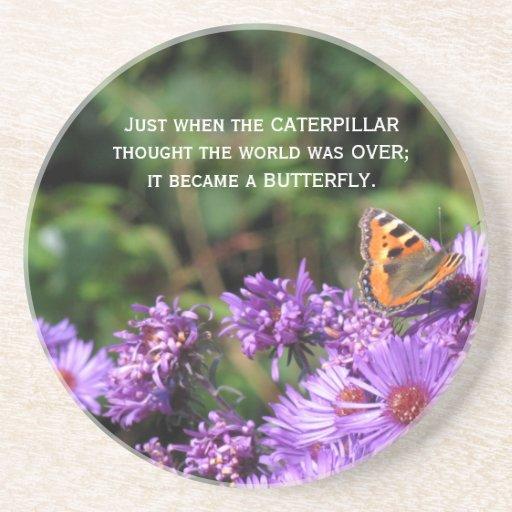 Mariposa de monarca y flores púrpuras posavasos para bebidas