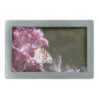 Mariposa de monarca y Mikweed Hebilla De Cinturón Rectangular