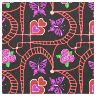 mariposa de neón del corazón con la tela color de telas