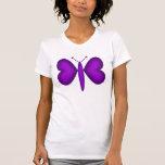 Mariposa de neón púrpura de los corazones camiseta