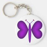 Mariposa de neón púrpura de los corazones llaveros