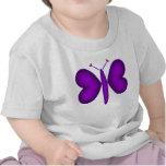 Mariposa de neón púrpura de los corazones camisetas
