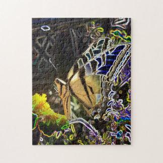 Mariposa de neón rompecabeza con fotos