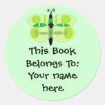 Mariposa de ojos verdes, placas de libro etiquetas redondas
