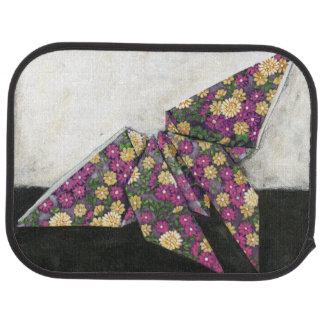 Mariposa de Origami en el papel floral Alfombrilla De Auto