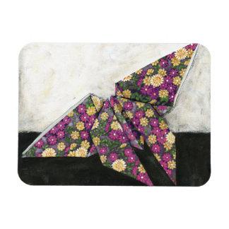 Mariposa de Origami en el papel floral Imanes Flexibles