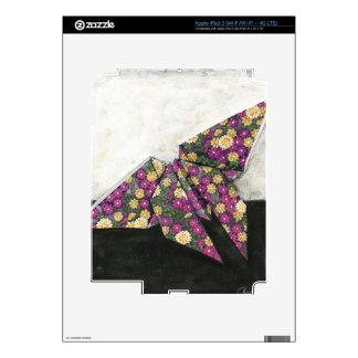 Mariposa de Origami en el papel floral iPad 3 Pegatina Skin