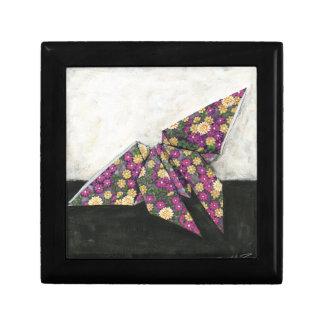 Mariposa de Origami en el papel floral Joyero Cuadrado Pequeño