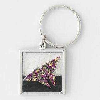 Mariposa de Origami en el papel floral Llavero Cuadrado Plateado