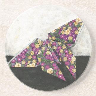 Mariposa de Origami en el papel floral Posavasos Manualidades