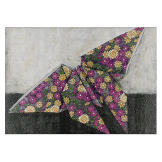 Mariposa de Origami en el papel floral Tablas Para Cortar