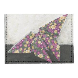 Mariposa de Origami en el papel floral Tarjeteros Tyvek®