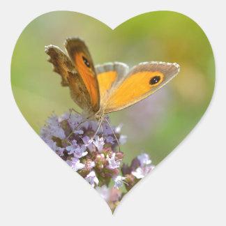 Mariposa de Pyronia en la flor Calcomania De Corazon Personalizadas