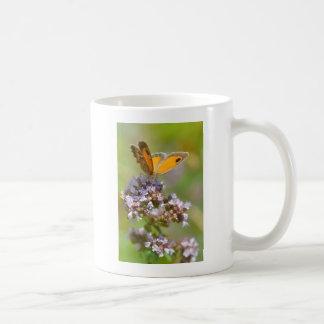Mariposa de Pyronia en la flor Tazas