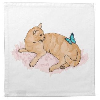 Mariposa de reclinación del gato servilleta de papel