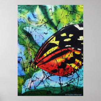Mariposa de seda de la pintura de la bella arte de póster