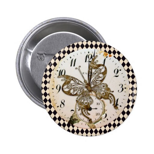 Mariposa de Steampunk redonda Pin