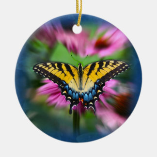 Mariposa de Swallowtail Adorno Navideño Redondo De Cerámica