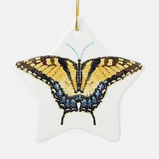 Mariposa de Swallowtail del tigre Bedazzled Adorno De Cerámica En Forma De Estrella