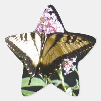 Mariposa de Swallowtail del tigre Pegatina En Forma De Estrella