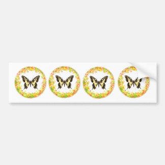 Mariposa de Swallowtail en el marco de hojas Pegatina Para Auto