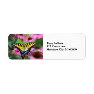 Mariposa de Swallowtail Etiqueta De Remite