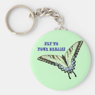 Mariposa de Swallowtail Llavero Redondo Tipo Pin