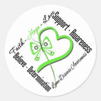 Mariposa del amor de la esperanza de la fe - pegatina redonda